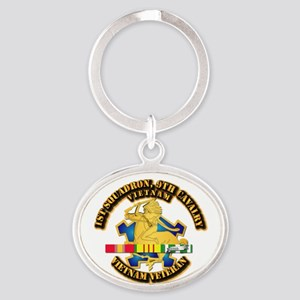 Army - 1-9th CAV w VN SVC Ribbons Oval Keychain