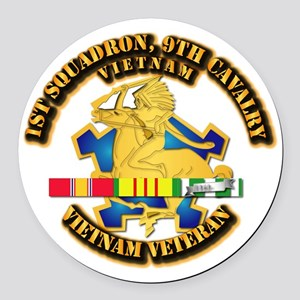 Army - 1-9th CAV w VN SVC Ribbons Round Car Magnet