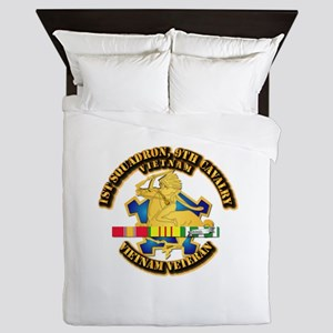 Army - 1-9th CAV w VN SVC Ribbons Queen Duvet