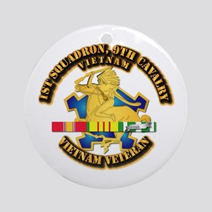 Army - 1-9th CAV w VN SVC Ribbons Ornament (Round)