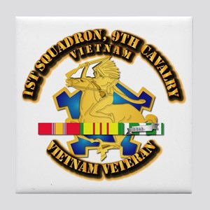 Army - 1-9th CAV w VN SVC Ribbons Tile Coaster
