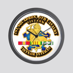 Army - 1-9th CAV w VN SVC Ribbons Wall Clock