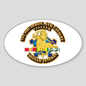 Army - 1-9th CAV w VN SVC Ribbons Sticker (Oval)