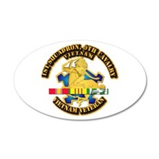Army - 1-9th CAV w VN SVC Ribbons Wall Decal