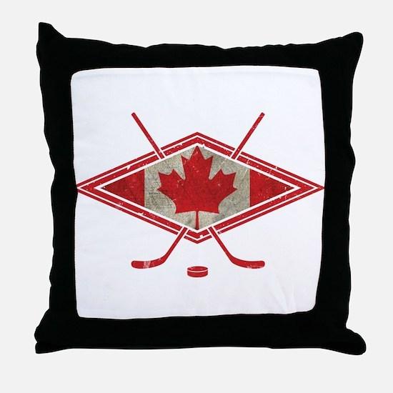 Canadian Hockey Flag Throw Pillow