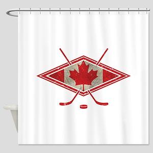 Canadian Hockey Flag Shower Curtain