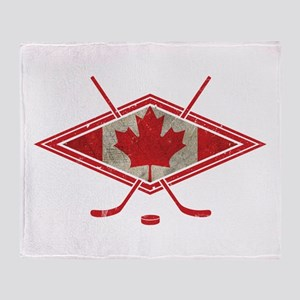 Canadian Hockey Flag Throw Blanket