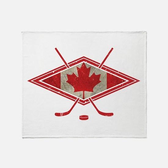 Canadian Hockey Flag Throw Blanket