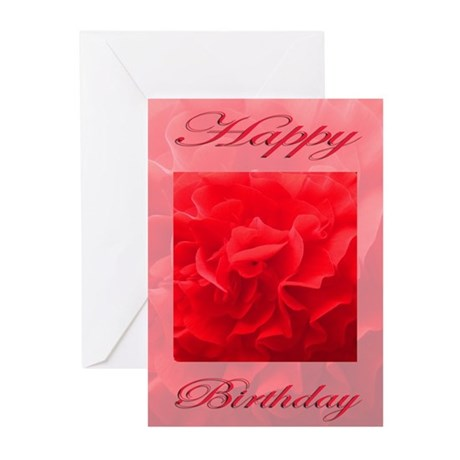 Happy Birthday Dianthus Red Flower Greeting Cards