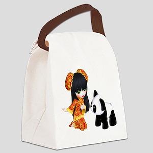Kawaii China Girl Canvas Lunch Bag