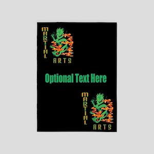 Martial Arts Smoke Fire Dragon Text 5'x7'Area Rug