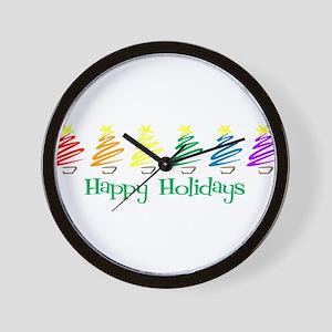Happy Holidays (Rainbow Trees Wall Clock