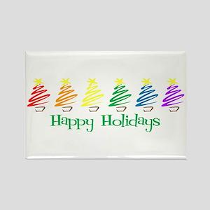 Happy Holidays (Rainbow Trees Rectangle Magnet