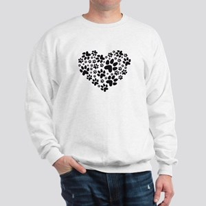 black heart with paws, animal foodprint pattern Sw