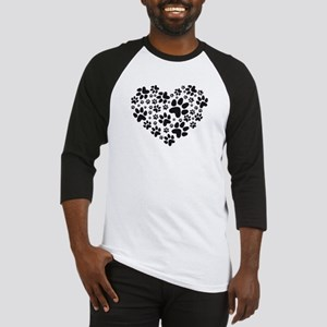 black heart with paws, animal foodprint pattern Ba