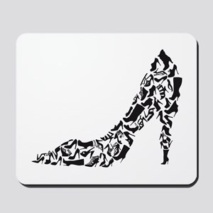 black heart with shoe silhouettes Mousepad