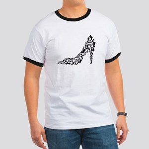 black heart with shoe silhouettes T-Shirt