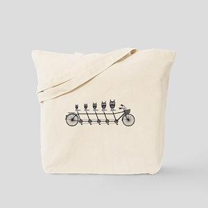 cute owls on tandem bicycle Tote Bag