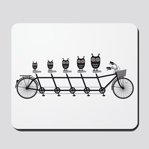 cute owls on tandem bicycle Mousepad