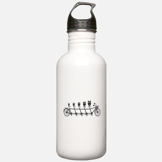 cute owls on tandem bicycle Water Bottle