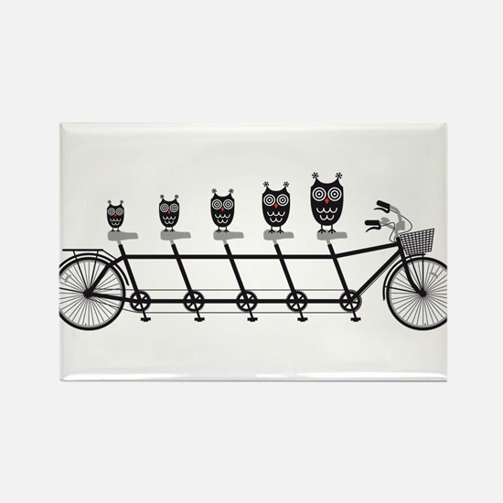 cute owls on tandem bicycle Rectangle Magnet