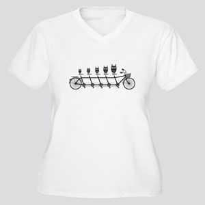 cute owls on tandem bicycle Plus Size T-Shirt