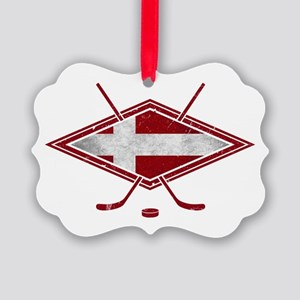 Danish Ishockey Hockey Flag Ornament