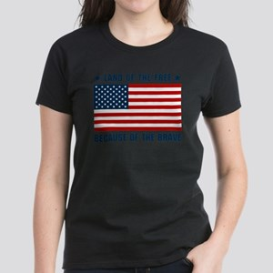 Land of the Free Flag Women's Dark T-Shirt