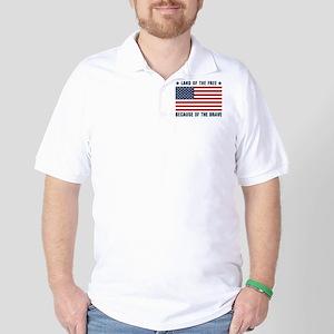 Land of the Free Flag Golf Shirt
