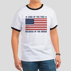 Land of the Free Flag Ringer T