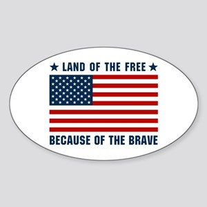Land of the Free Flag Sticker (Oval)