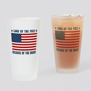Land of the Free Flag Drinking Glass