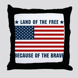 Land of the Free Flag Throw Pillow
