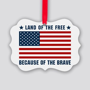 Land of the Free Flag Picture Ornament