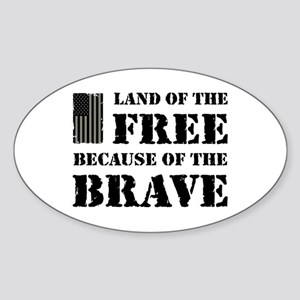 Land of the Free Camo Sticker (Oval)