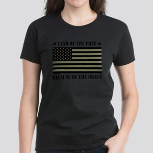 Land of the Free Camo Flag Women's Dark T-Shirt
