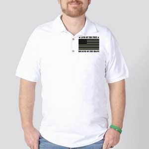 Land of the Free Camo Flag Golf Shirt