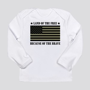 Land of the Free Camo Flag Long Sleeve Infant T-Sh
