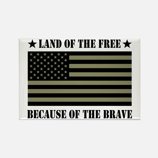 Land of the Free Camo Flag Rectangle Magnet