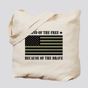Land of the Free Camo Flag Tote Bag