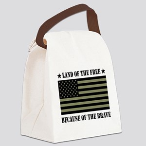 Land of the Free Camo Flag Canvas Lunch Bag