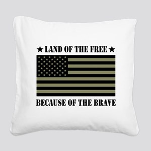 Land of the Free Camo Flag Square Canvas Pillow