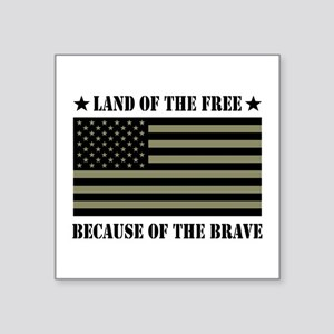 "Land of the Free Camo Flag Square Sticker 3"" x 3"""