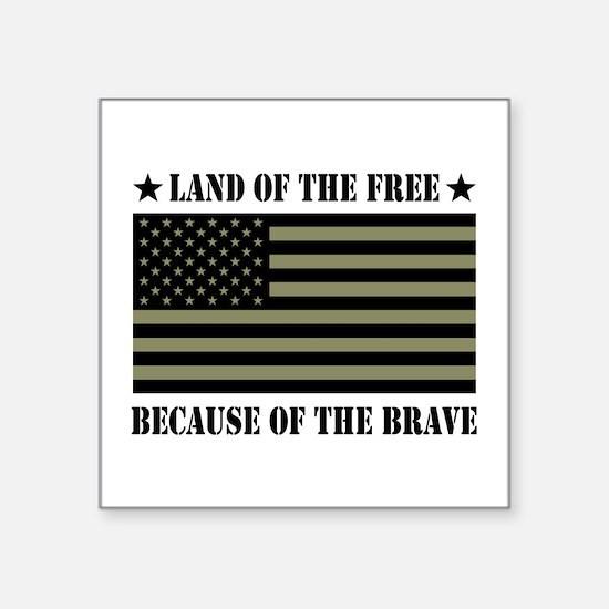 "Land of the Free Camo Flag Square Sticker 3"" x 3"""