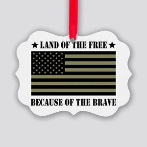 Land of the Free Camo Flag Picture Ornament