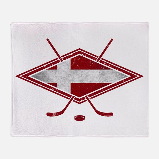 Danish Ishockey Hockey Flag Throw Blanket