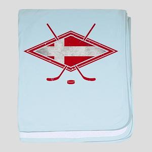 Danish Ishockey Hockey Flag baby blanket