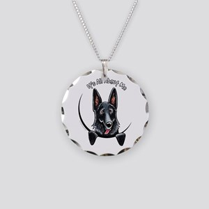 Black GSD IAAM Necklace Circle Charm
