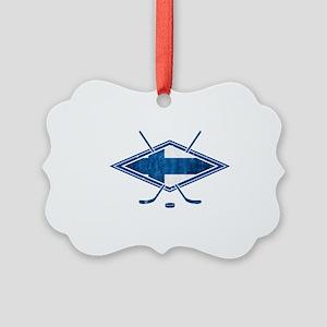 Suomi Jääkiekko Flag Logo Ornament