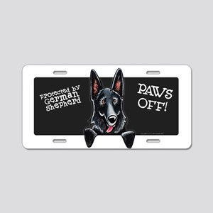 Black GSD PAWS OFF Aluminum License Plate